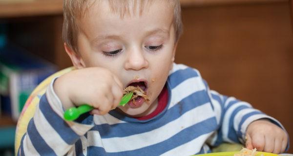 niño comiendo con el tenedor