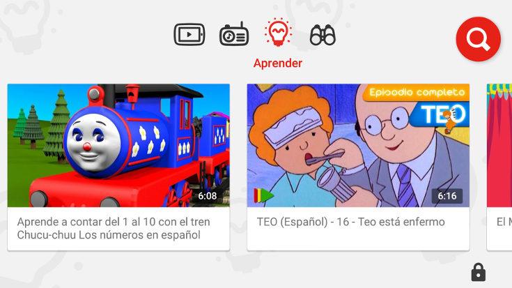 Podemos dejar al niño buscar vídeos o sólo ver los que hay en pantalla