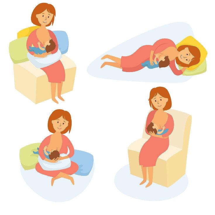 Algunas posturas recomendadas para amamantar al bebé
