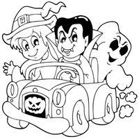 Bruja, vampiro y fantasma en coche de Halloween