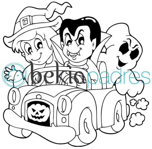 Bruja, vampiro y fantasma en coche de Halloween para colorear
