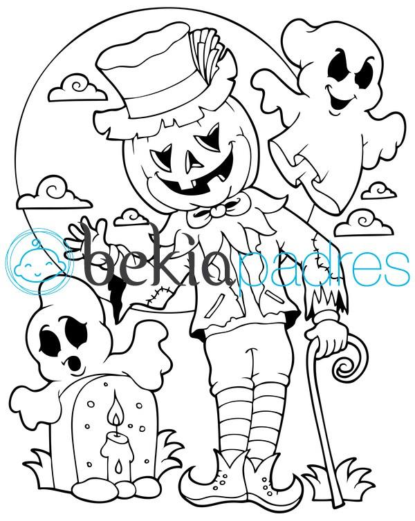 Espantapájaros de Halloween: dibujo para colorear