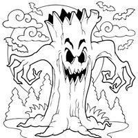 Terrorífico árbol de Halloween