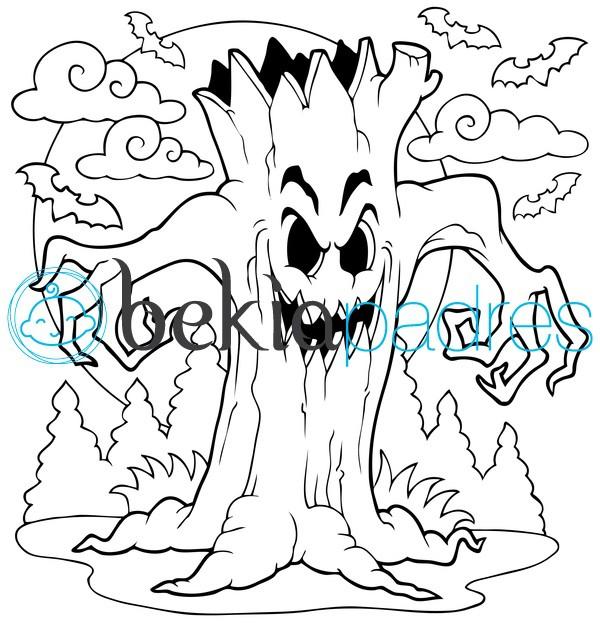 Terrorífico árbol de Halloween: dibujo para colorear