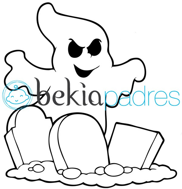Fantasma de Halloween en lápidas para colorear