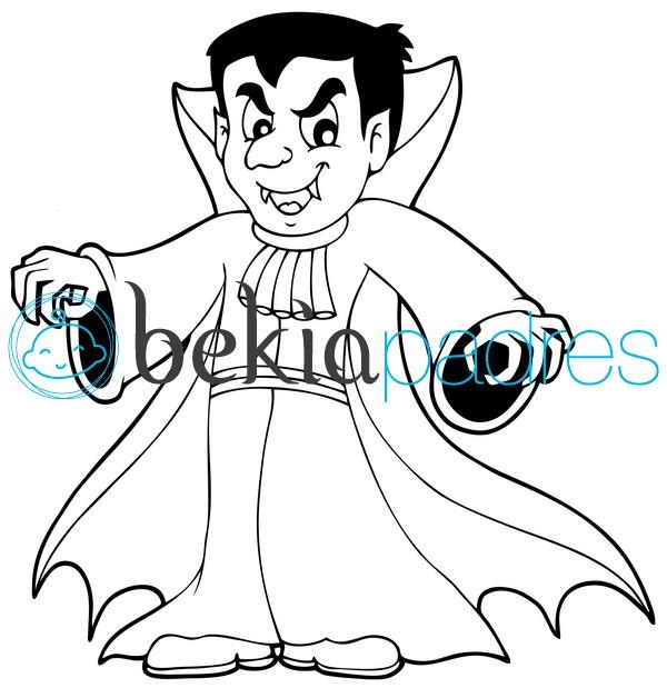 Vampiro de Halloween para colorear