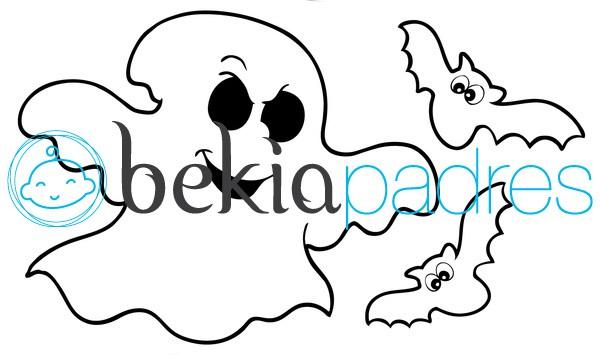Fantasma con murciélagos para colorear