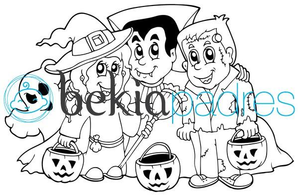 Bruja, vampiro y Frankenstein en Halloween para colorear