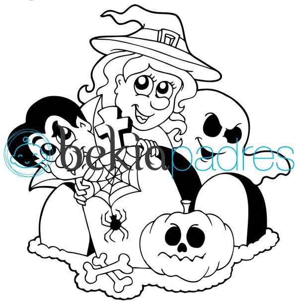 Cementerio de Halloween para colorear