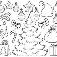 Nios en un calcetn de Navidad dibujo para colorear