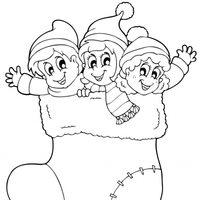 Niños en un calcetín de Navidad