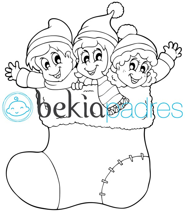 Niños en un calcetín de Navidad para colorear