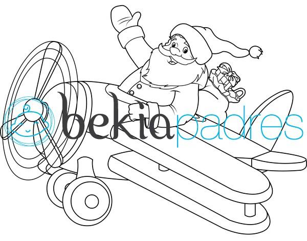 Papá Noel en avioneta para colorear