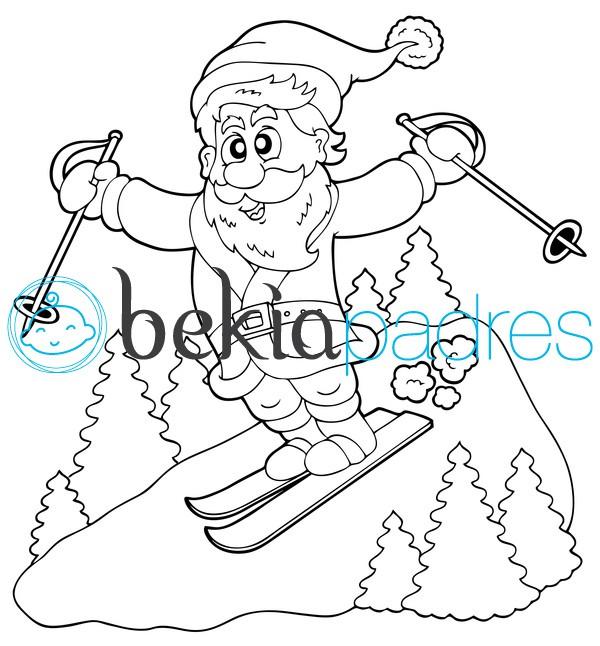 Papá Noel esquiando para colorear