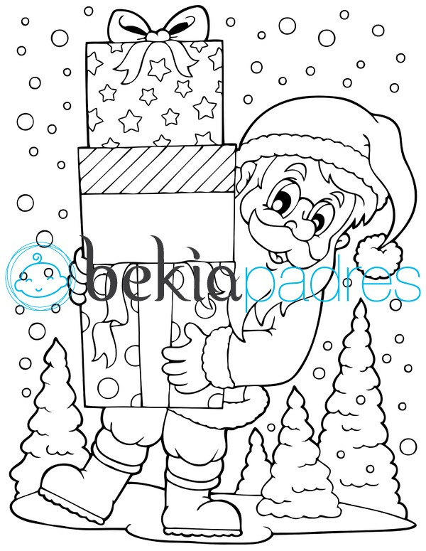 Papá Noel con regalos: dibujo para colorear
