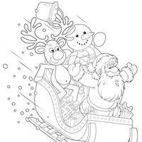 Trineo con Papá Noel, reno y muñeco de nieve