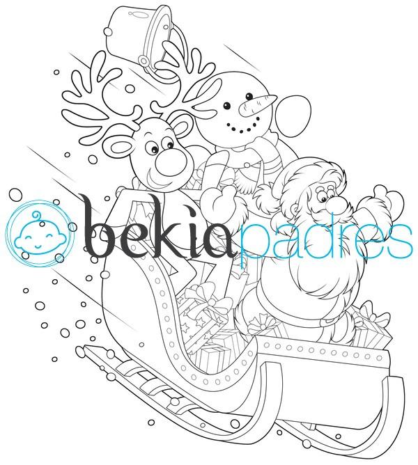 Trineo con Papá Noel, reno y muñeco de nieve: dibujo para colorear