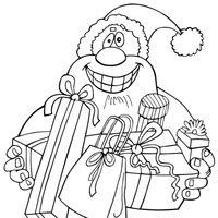Papá Noel entregando regalos