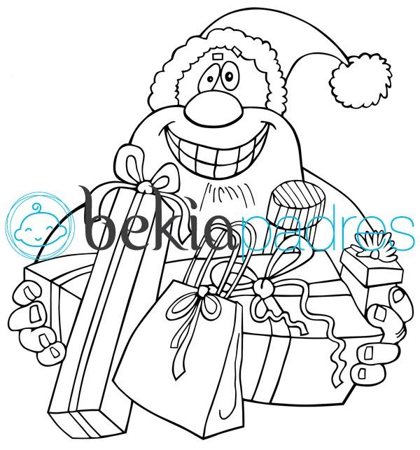 Papá Noel entregando regalos para colorear