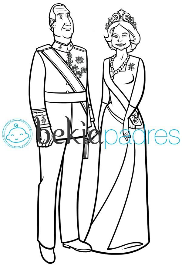 Rey Juan Carlos y Reina Sofía para colorear