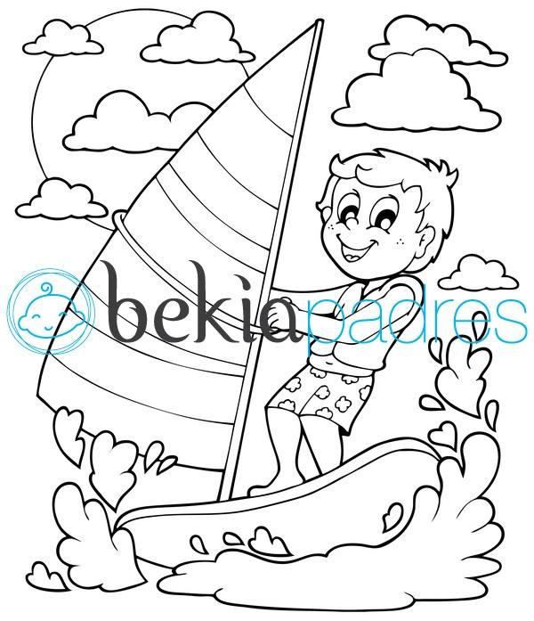 Niño practicando vela: dibujo para colorear