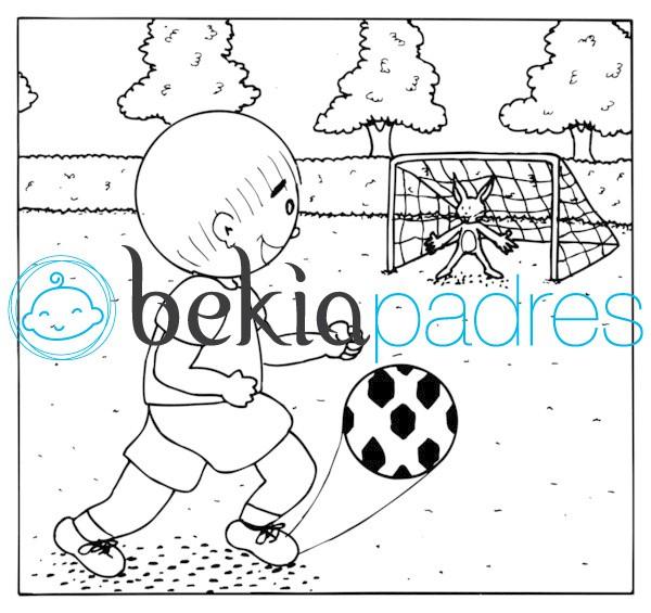 Jugando al fútbol con un conejo para colorear