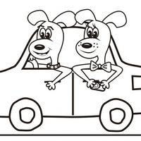 Dos perros en coche