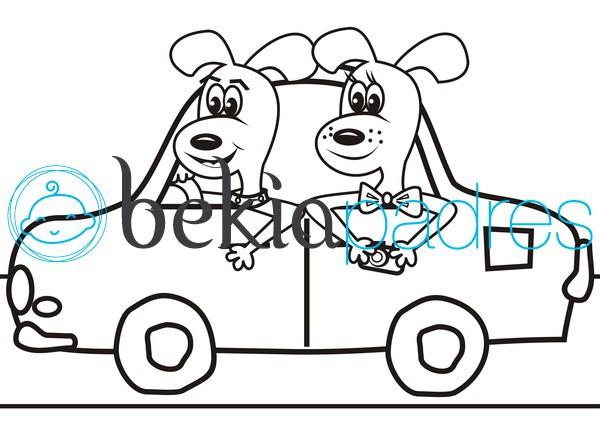Dos perros en coche para colorear