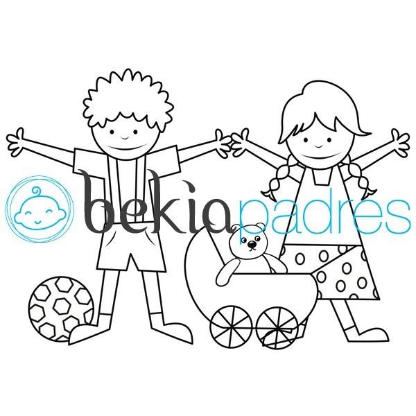 Niños y juguetes para colorear