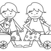 Niñas con carritos de juguete