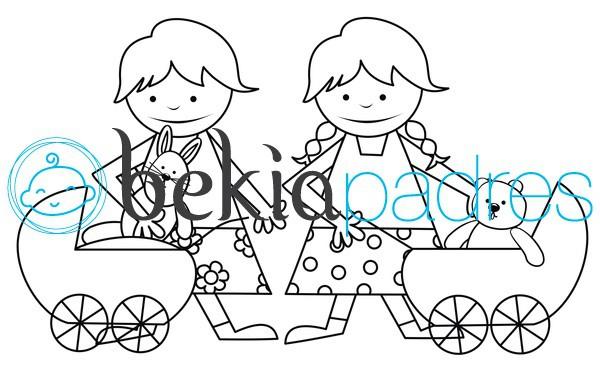 Niñas con carritos de juguete para colorear