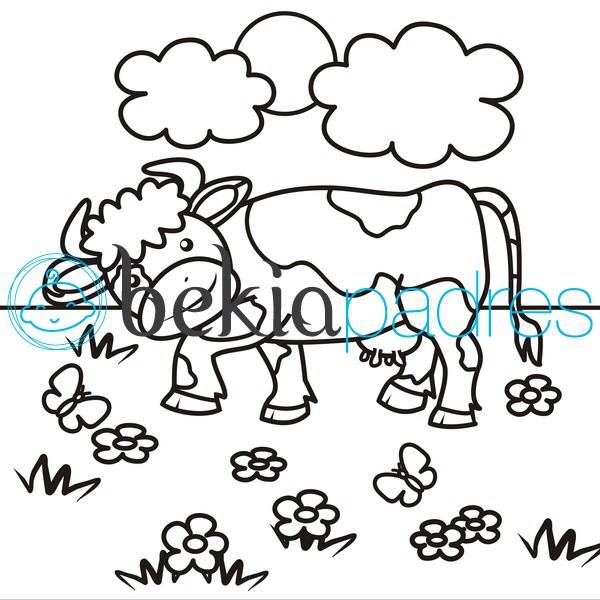 Vaca: dibujo para colorear