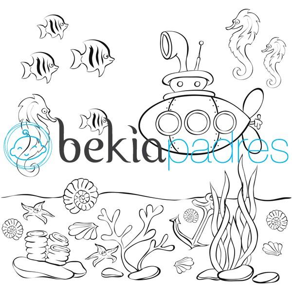 Acuario con un submarino: dibujo para colorear