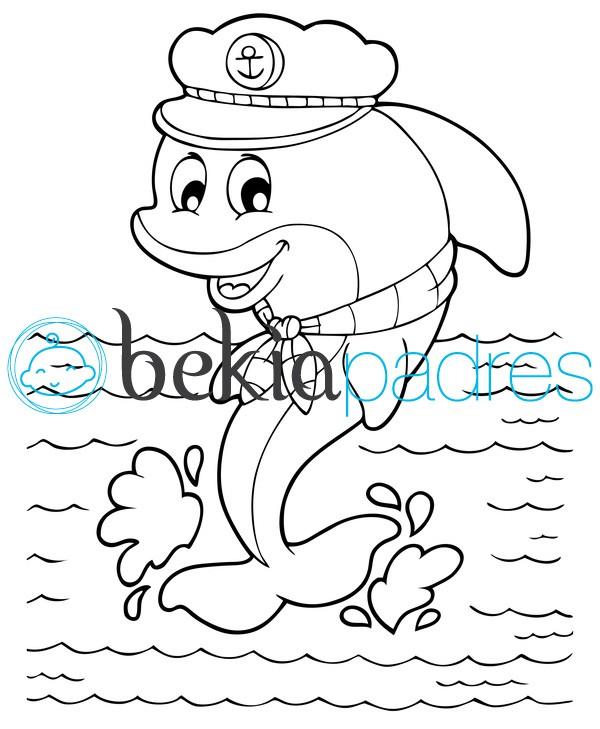 Delfín marinero para colorear