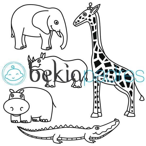 Animales de Sabana: dibujo para colorear