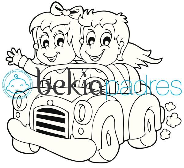 Amigos en coche para colorear