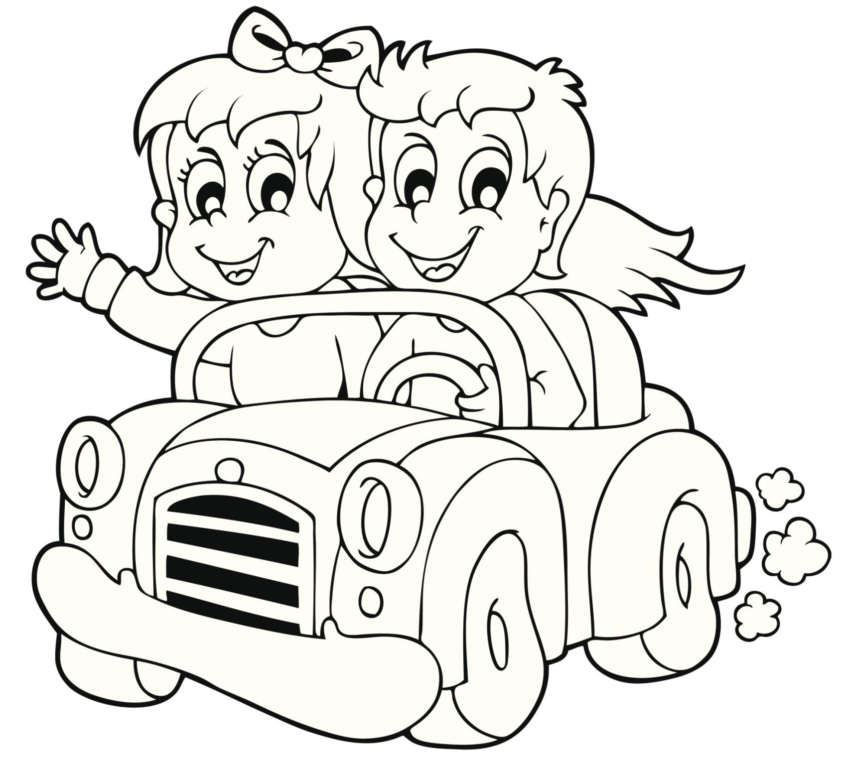 Amigos en coche