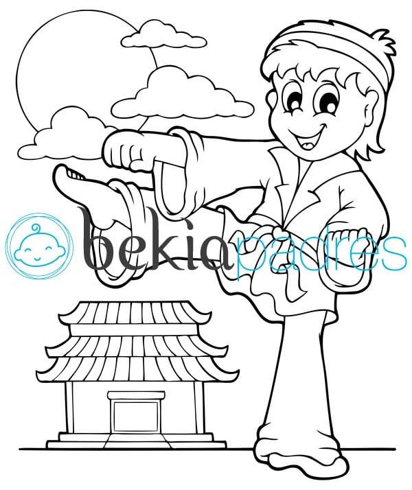 Niño practicando taekwondo: dibujo para colorear