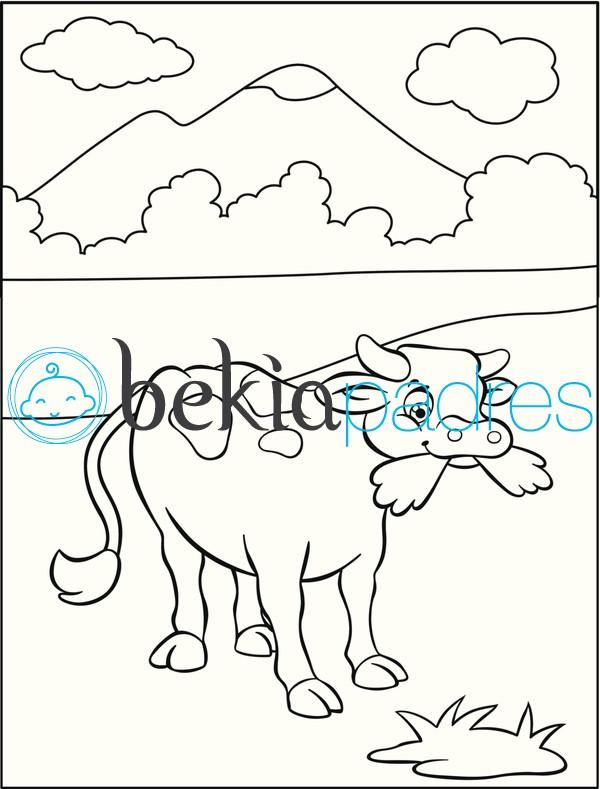 Vaca en la motaña: dibujo para colorear