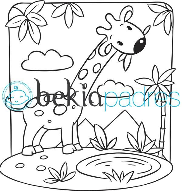 Jirafa en un oasis para colorear