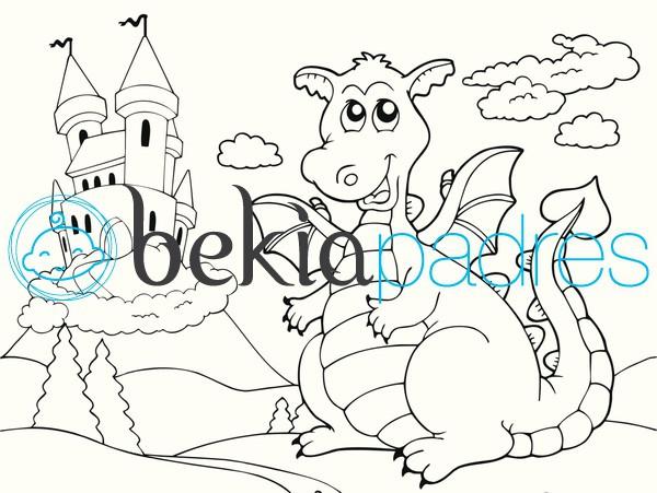 Dragón con castillo para colorear