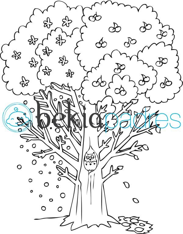 Árbol con animales dibujo para colorear
