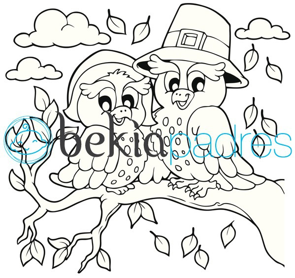 Búhos en otoño: dibujo para colorear
