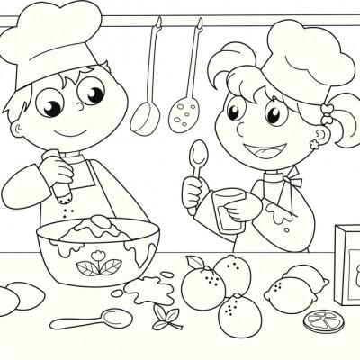 Ni os cocineros dibujo para colorear - Dibujos de cocineros para colorear ...