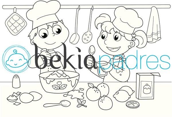 Niños Cocineros Dibujo Para Colorear