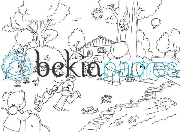Niños jugando en el parque: dibujo para colorear