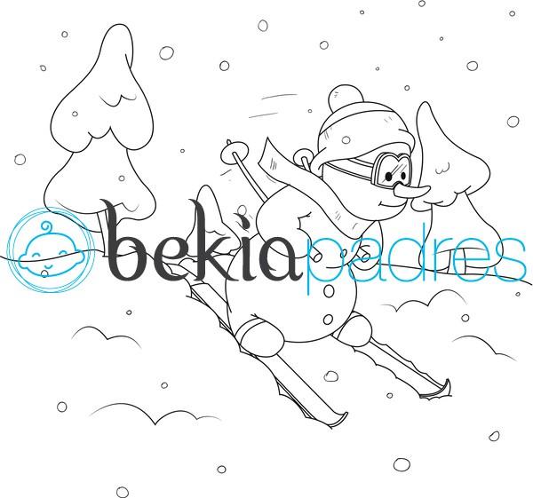 Muñeco de nieve esquiando para colorear