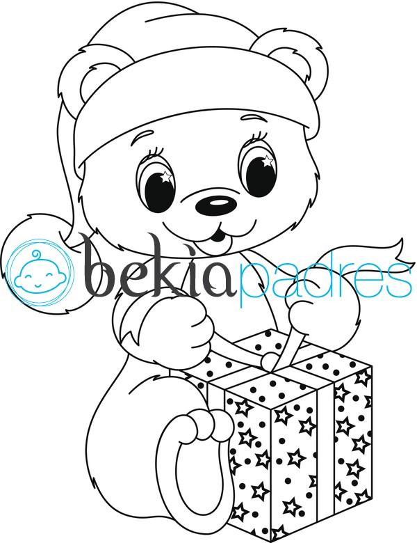 Osito abriendo regalo: dibujo para colorear