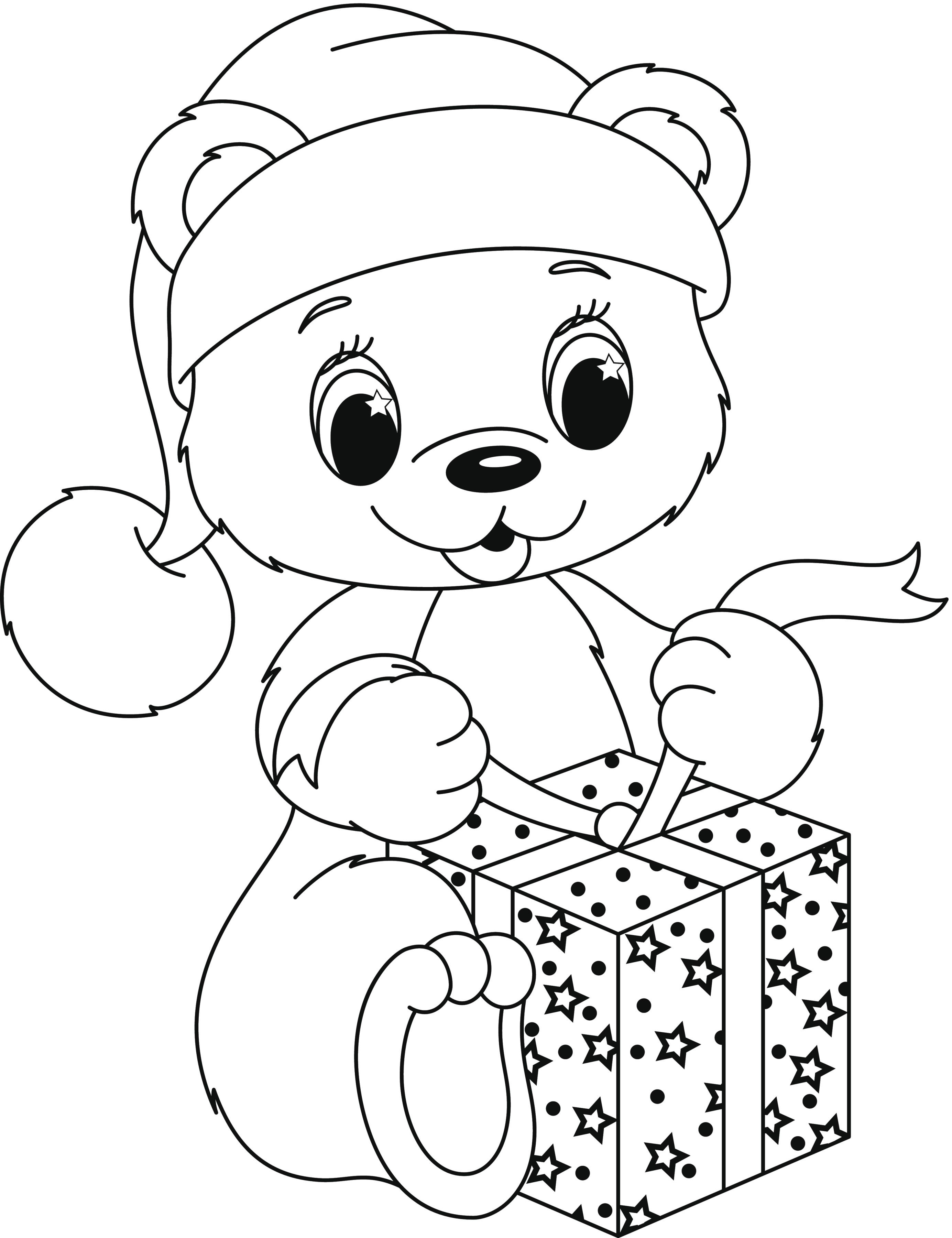 Osito abriendo regalo