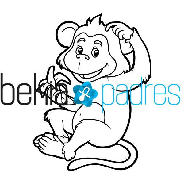 Mono comiendo un pltano dibujo para colorear